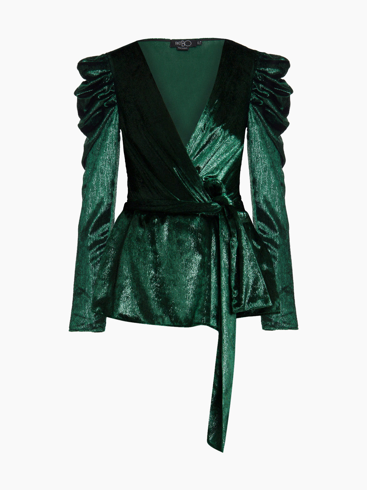 Liquid Velvet Puff Sleeve Wrap Top | Emerald