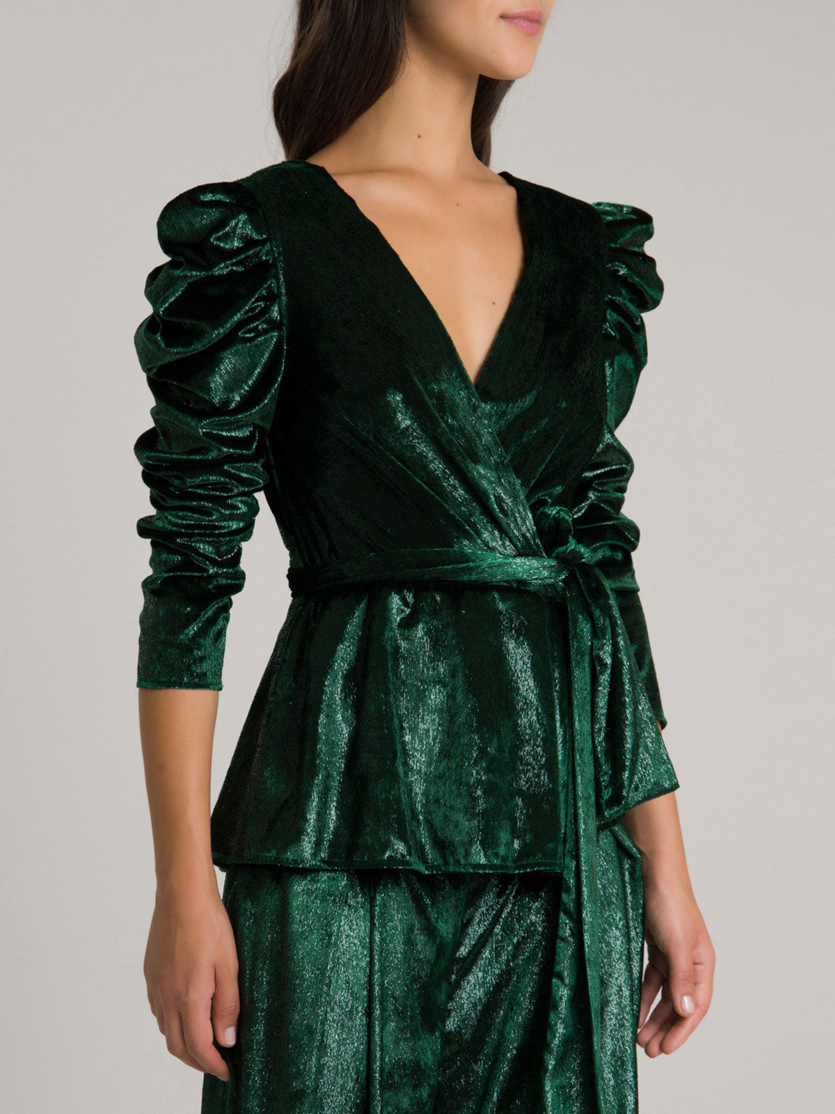 Liquid Velvet Puff Sleeve Wrap Top | Emerald Liquid Velvet Puff Sleeve Wrap Top | Emerald