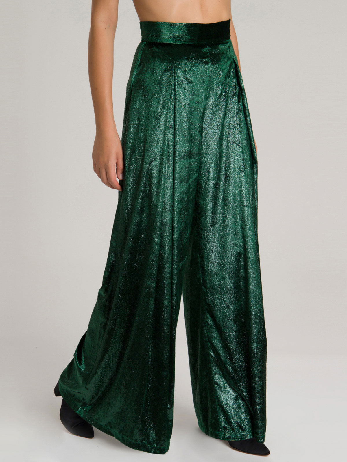 Liquid Velvet Wide Leg Pant | Emerald