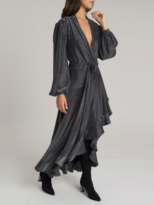 Metallic Mesh Hi-Low Wrap Dress | Pewter