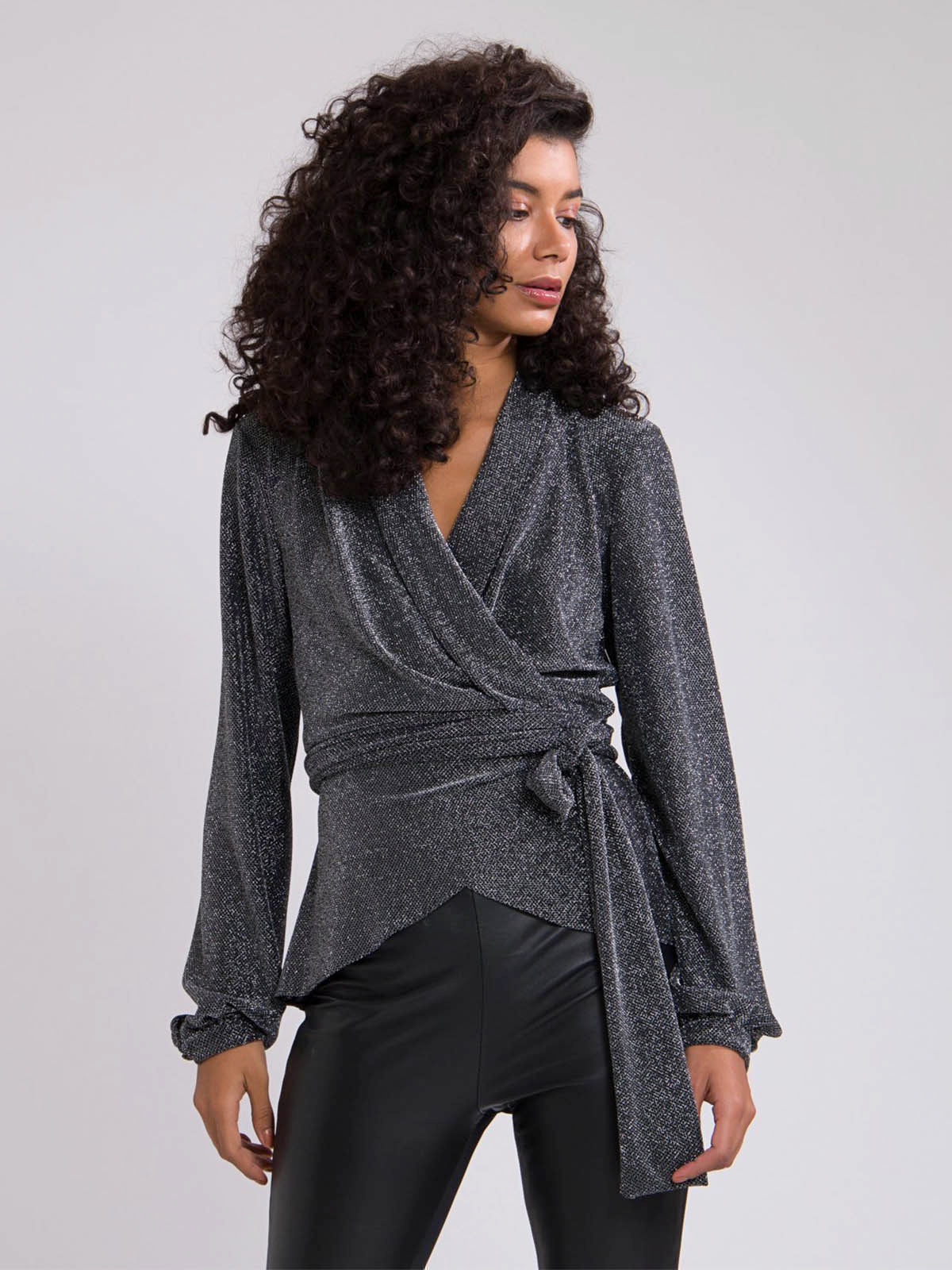 Metallic Mesh Wrap Top | Pewter Metallic Mesh Wrap Top | Pewter
