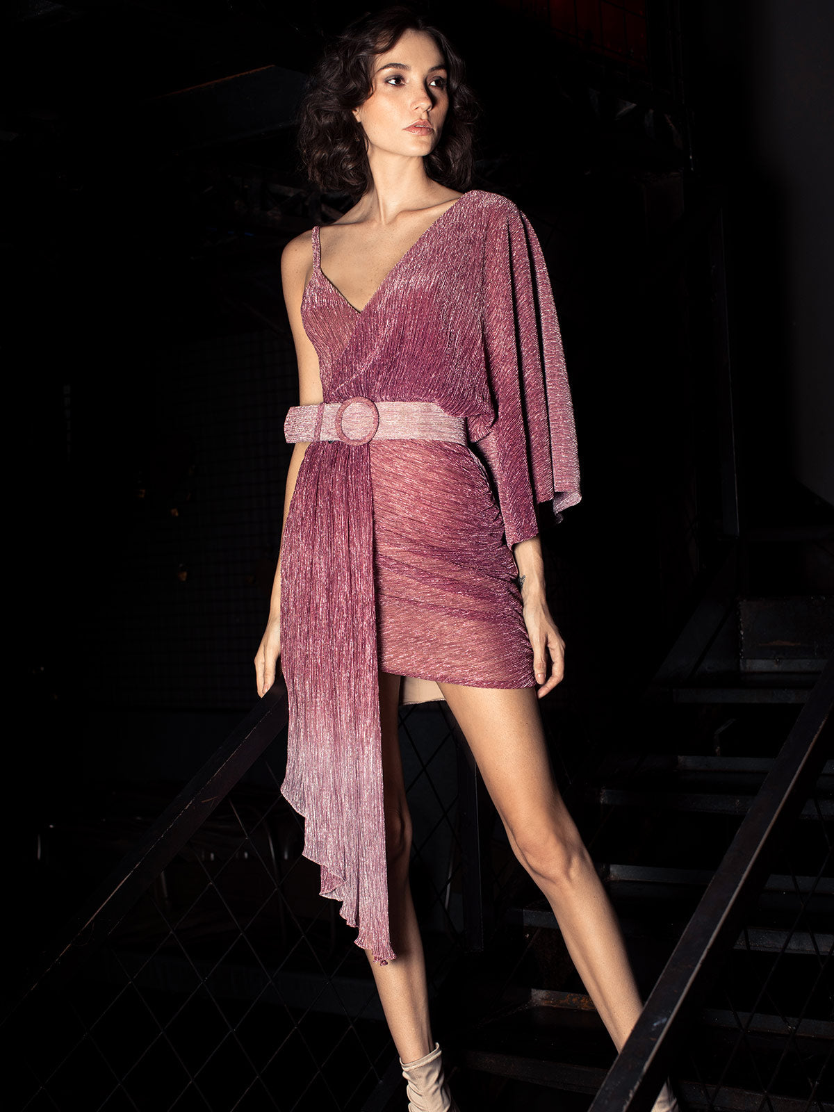 Ombre Lurex Asymmetric Belted Mini Dress | Light Orchid