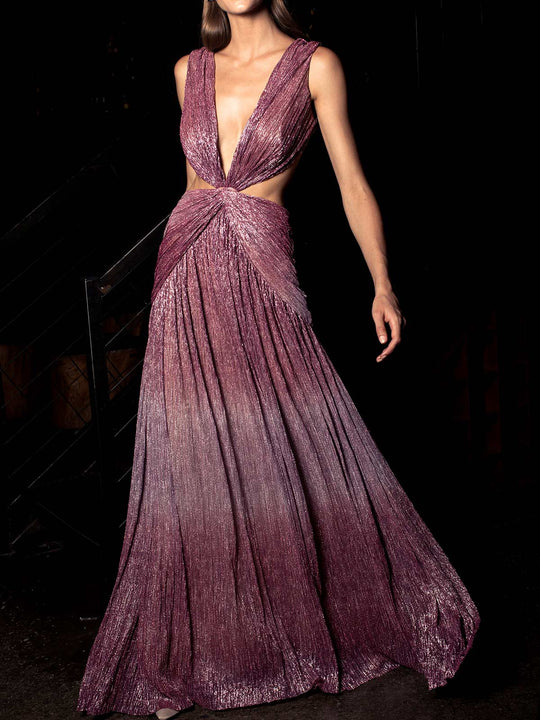 Ombre Lurex Sleeveless Cutout Gown | Light Orchid