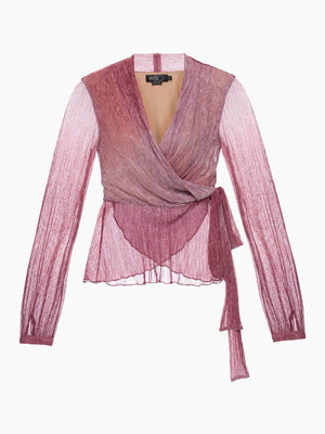 Ombre Lurex Wrap Top | Light Orchid Ombre Lurex Wrap Top | Light Orchid