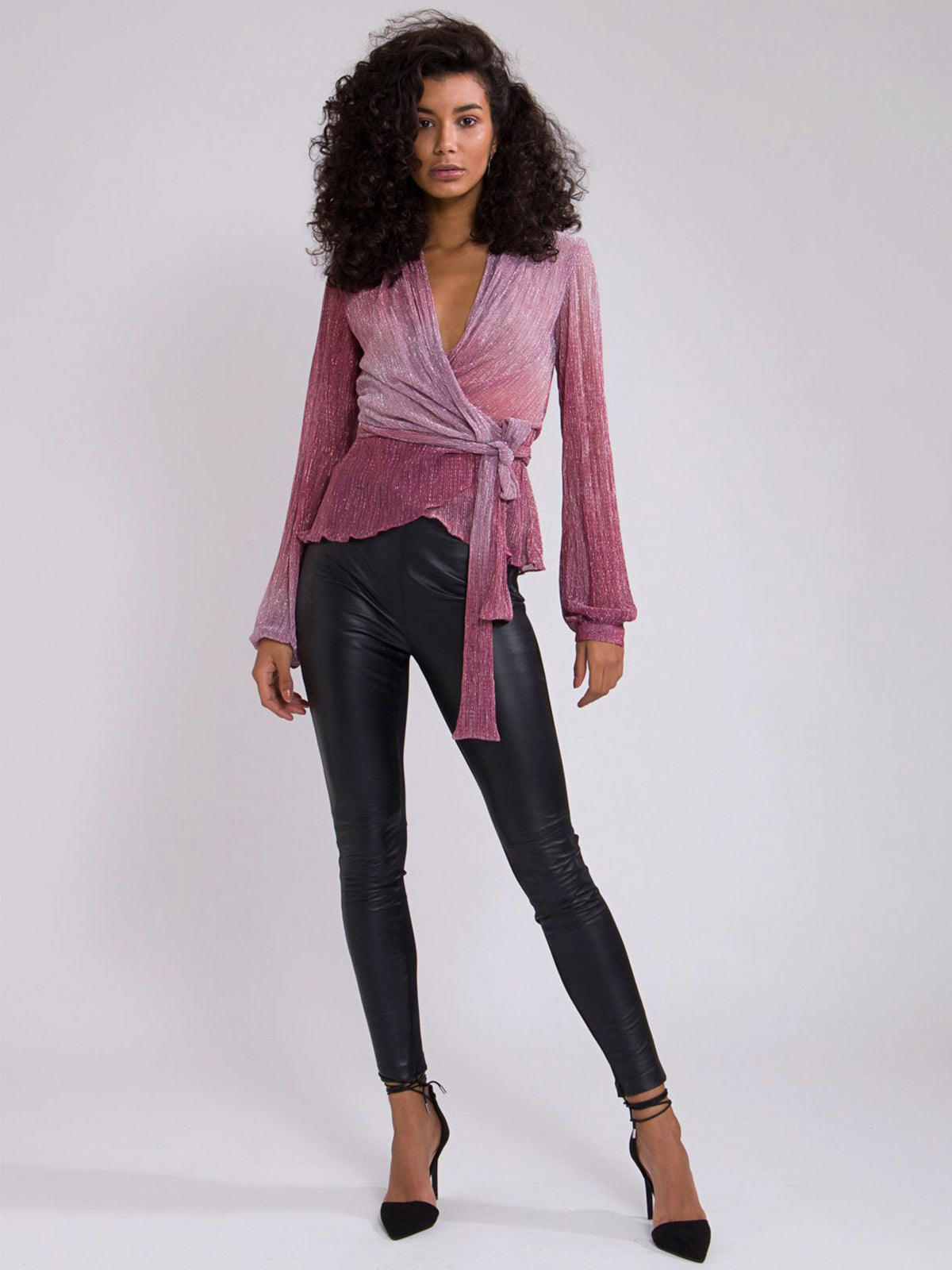 Ombre Lurex Wrap Top | Light Orchid