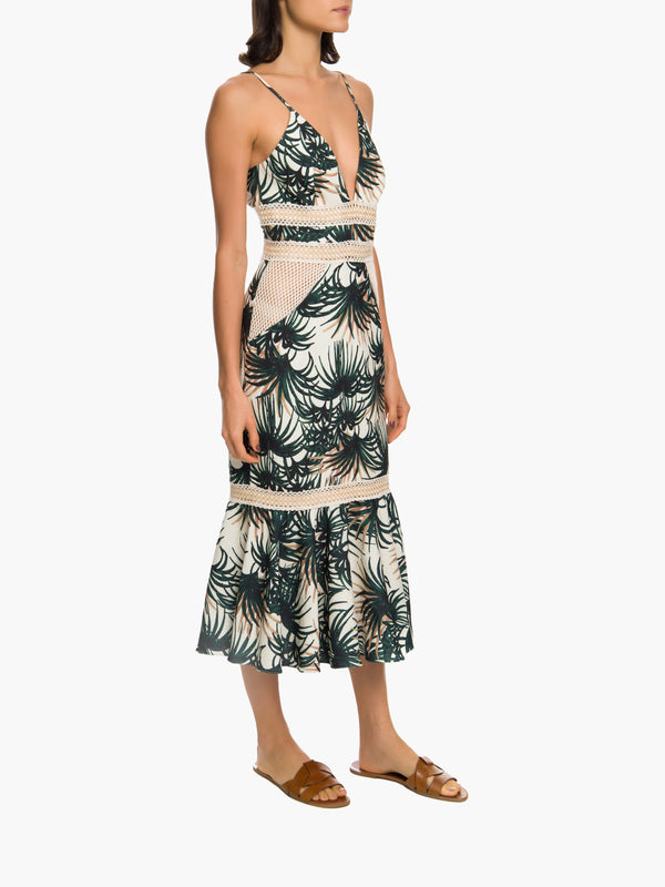 Palm Print Fitted Midi Dress Palm Print Fitted Midi Dress