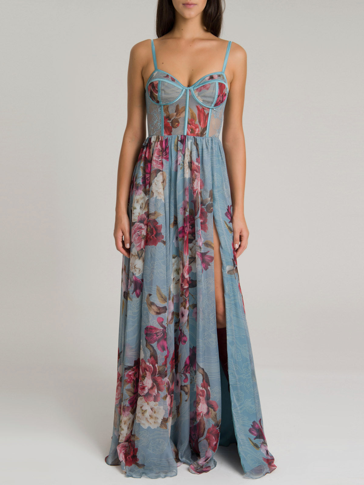 Peony Print Bustier Maxi Dress w/ Belt | Soft Blue