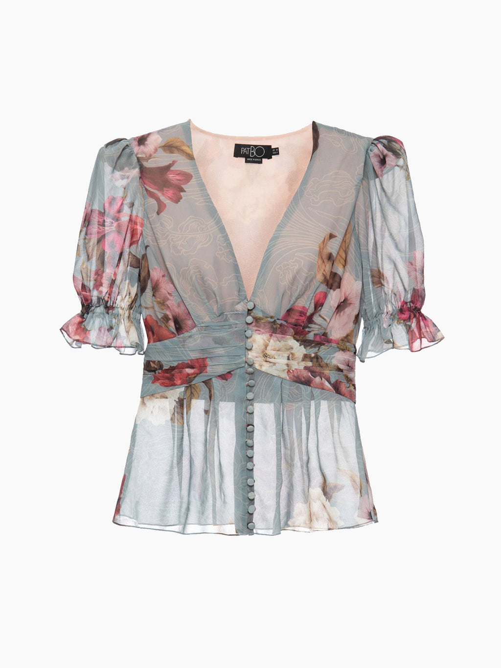 Peony Print Puff Sleeve Blouse | Soft Blue