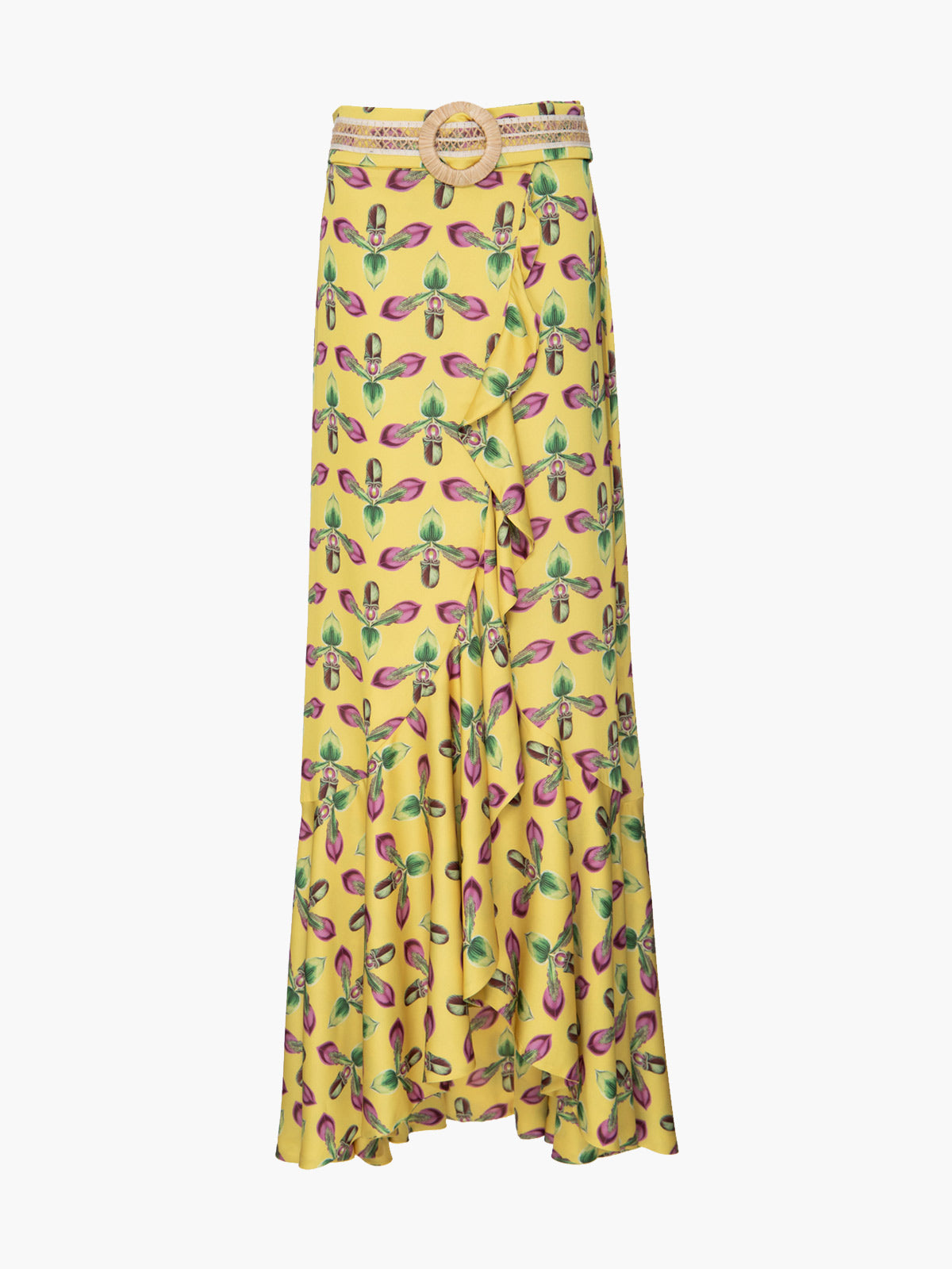 Printed Maxi Wrap Skirt | Bright Yellow