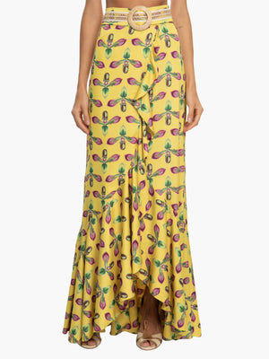 Printed Maxi Wrap Skirt | Bright Yellow Printed Maxi Wrap Skirt | Bright Yellow