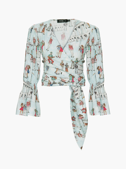 Printed Ruched Sleeve Cropped Top | Light Blue