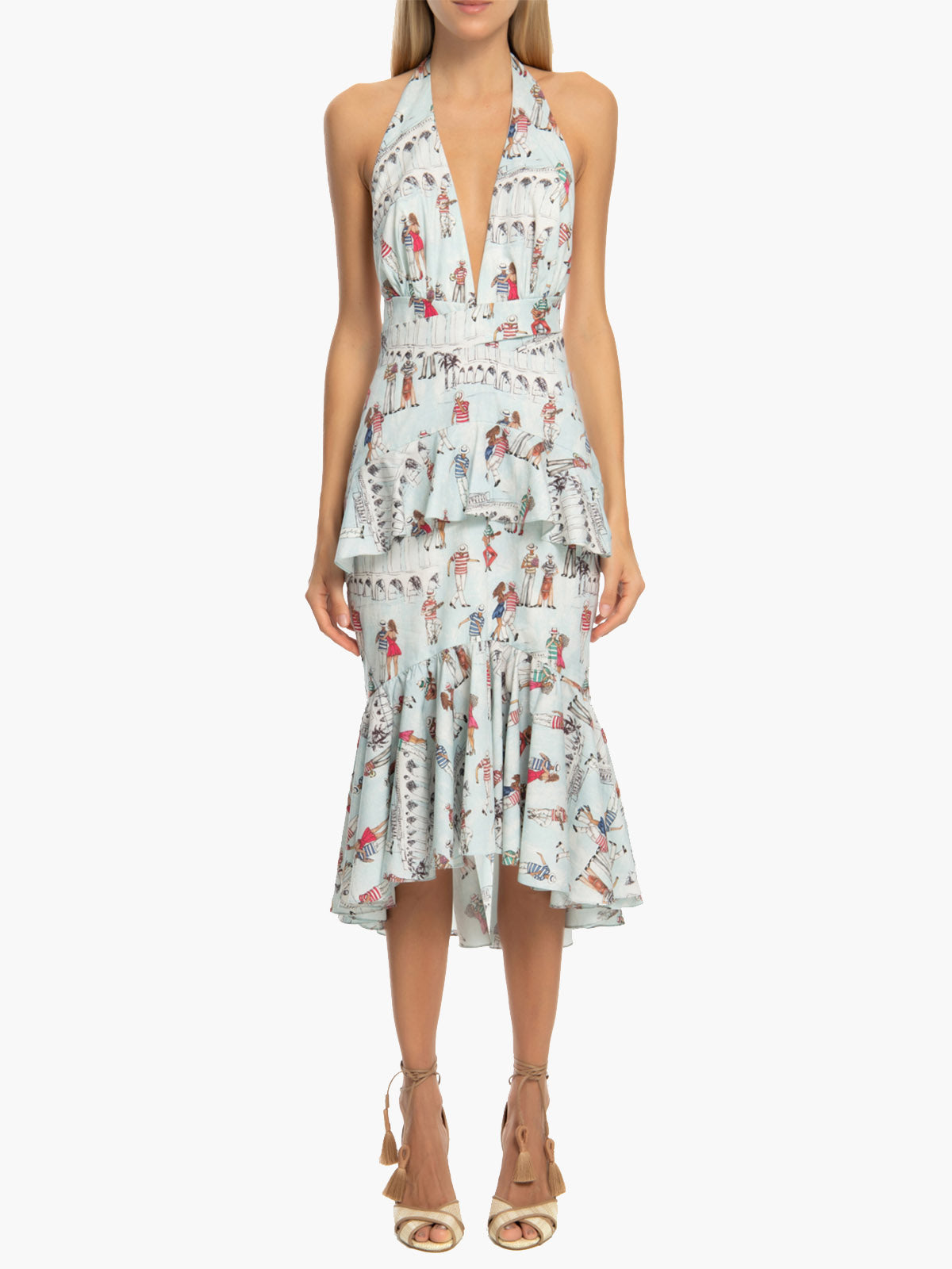 Printed Ruffle Halter Dress | Light Blue