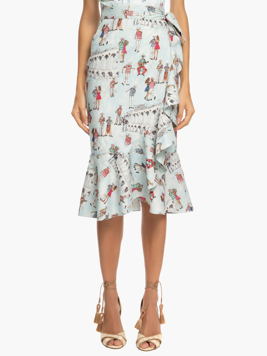 Printed Ruffle Wrap Skirt | Light Blue