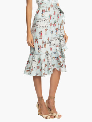 Printed Ruffle Wrap Skirt | Light Blue Printed Ruffle Wrap Skirt | Light Blue