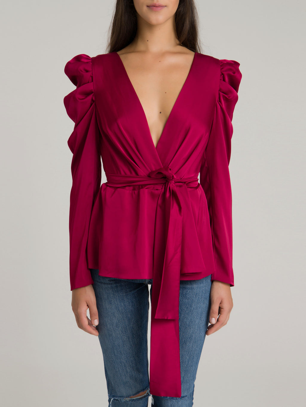 Puff Sleeve Wrap Top | Crimson