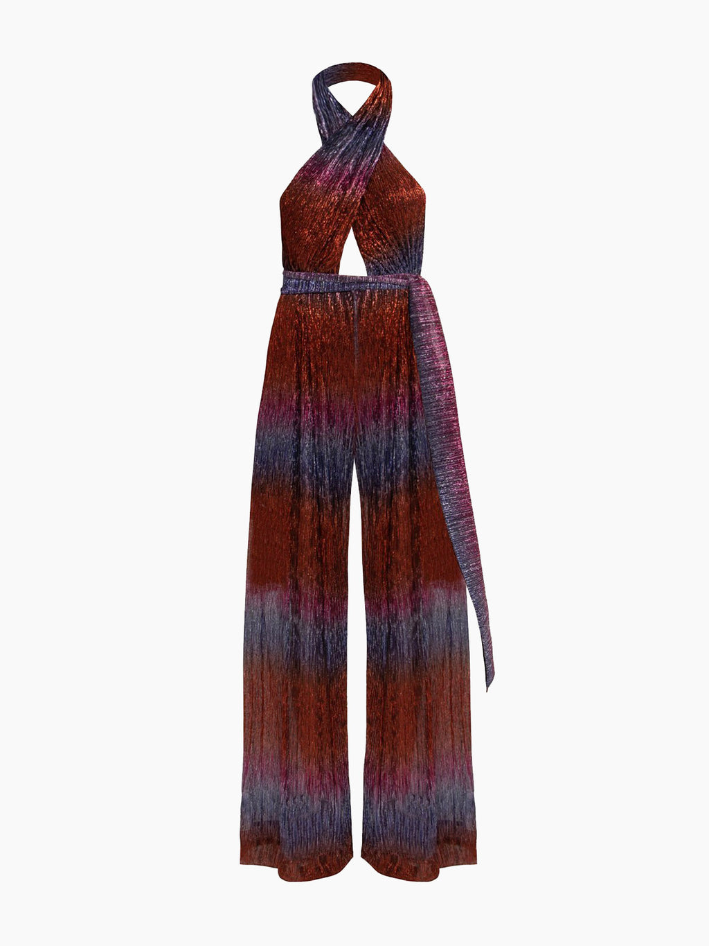 Rainbow Lurex Cross-Front Jumpsuit | Multi