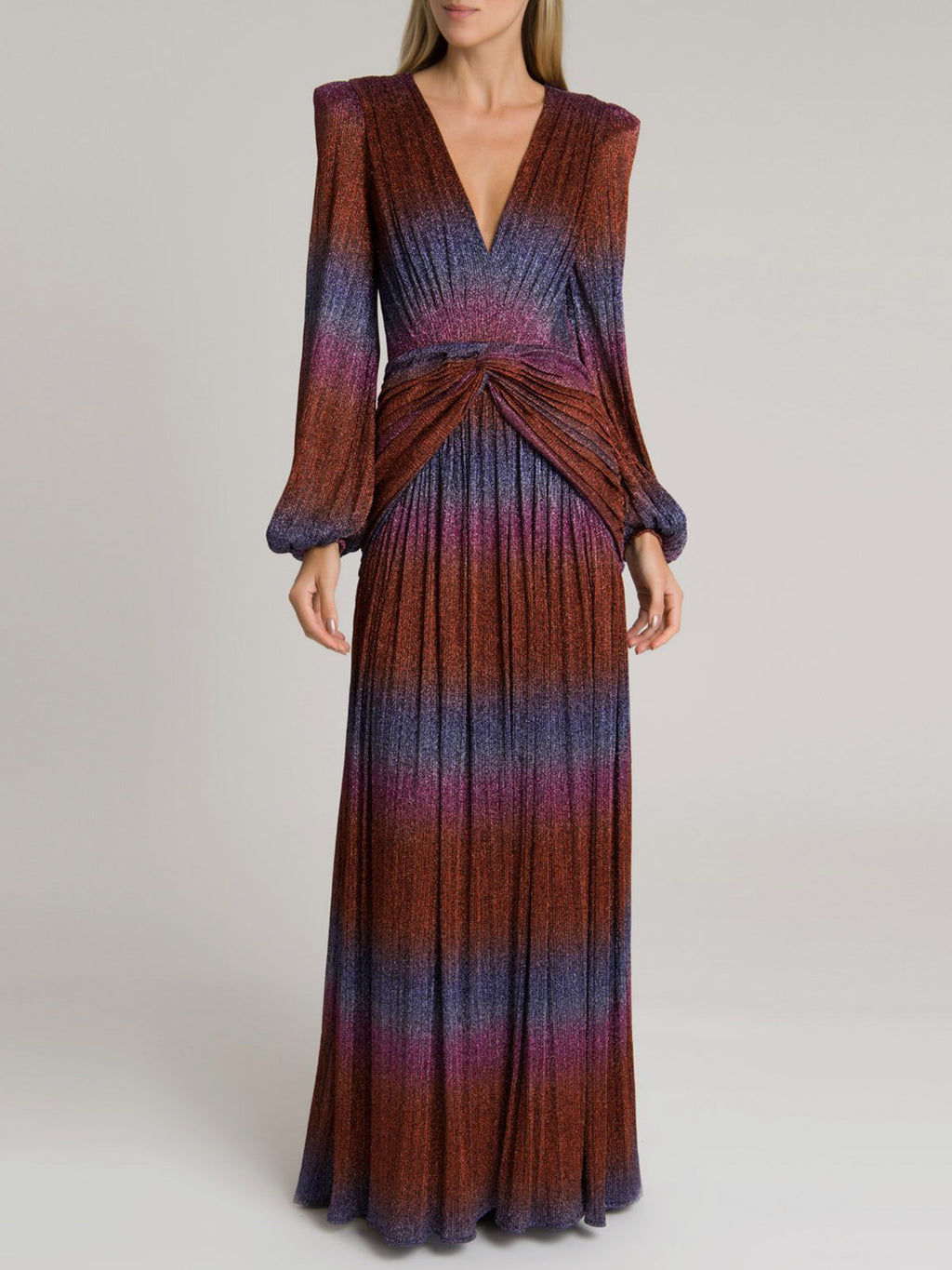 Rainbow Lurex Long Sleeve Gown | Multi