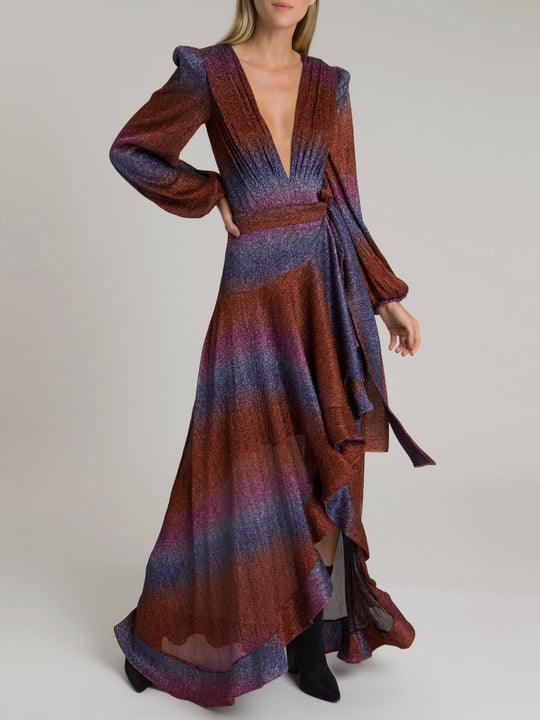 Rainbow Lurex Maxi Wrap Skirt