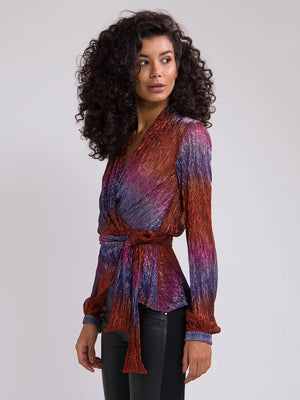 Rainbow Lurex Wrap Top | Multi Rainbow Lurex Wrap Top | Multi