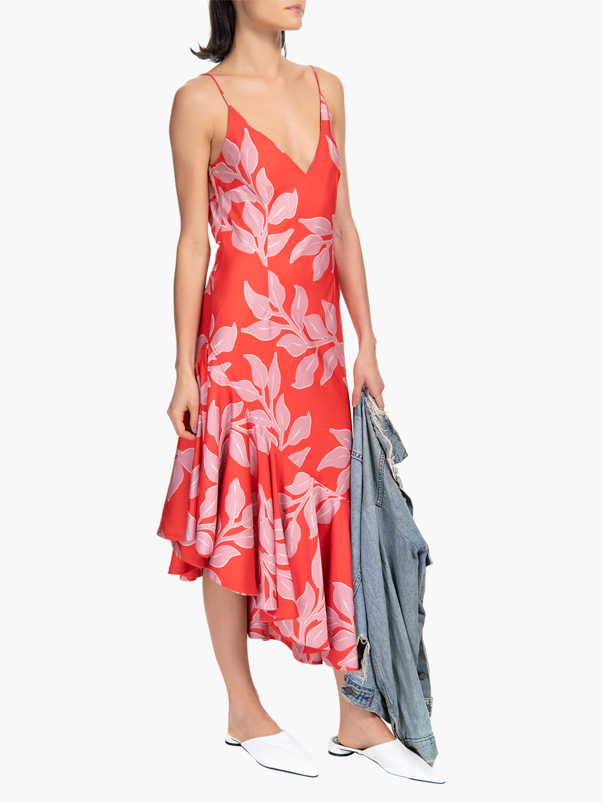 Ruffle Hem Slip Dress | Leaf Print Ruffle Hem Slip Dress | Leaf Print