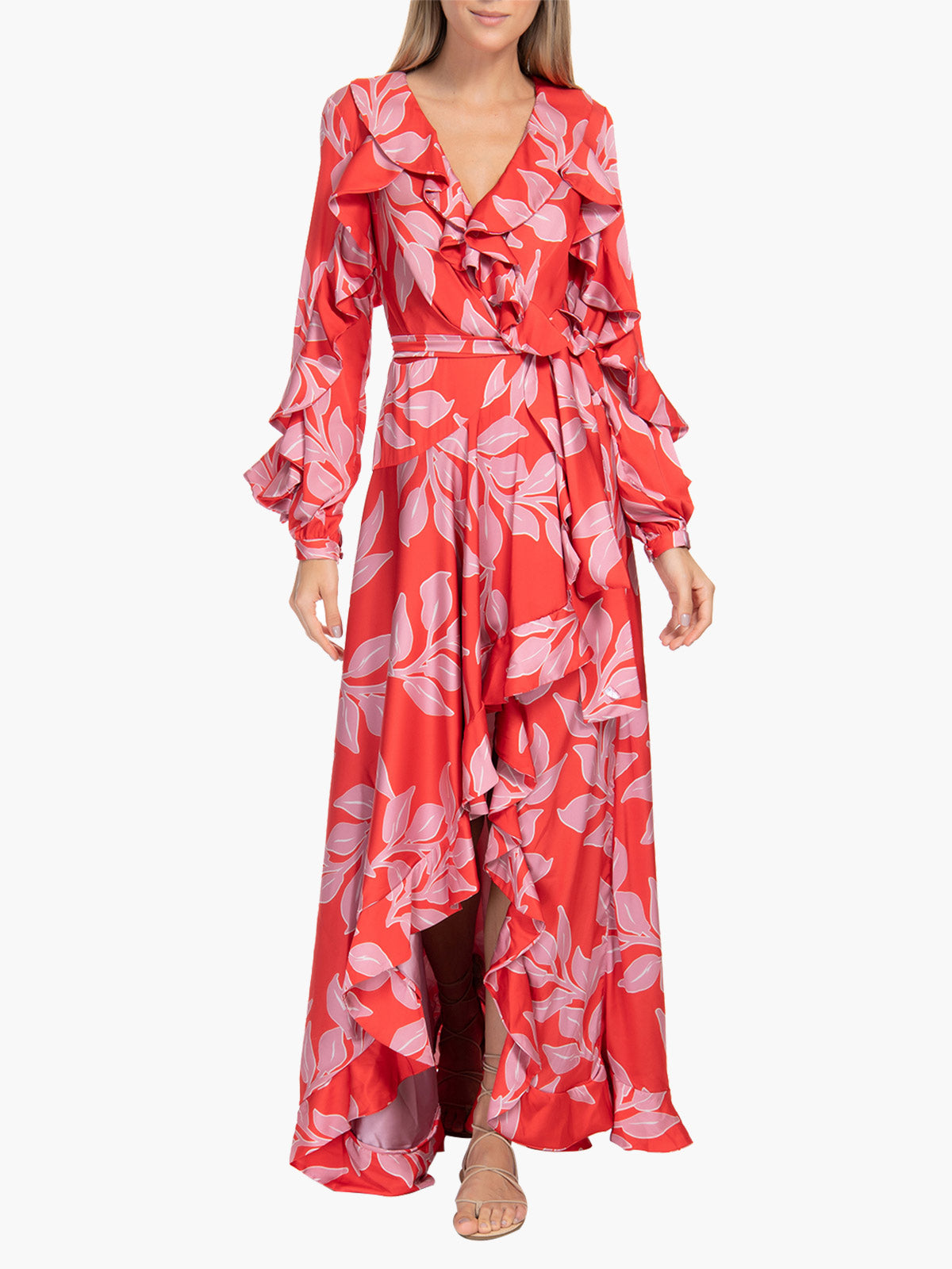 Ruffle Sleeve Maxi Dress | Leaf Print Ruffle Sleeve Maxi Dress | Leaf Print