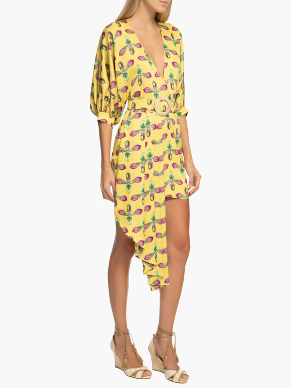 Side Ruffle Belted Mini Dress | Bright Yellow Side Ruffle Belted Mini Dress | Bright Yellow