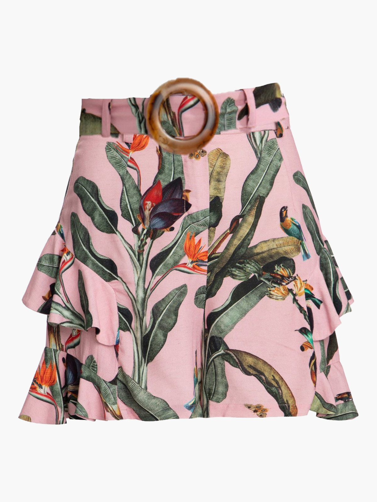 Tropical Print Belted Ruffle Shorts Tropical Print Belted Ruffle Shorts