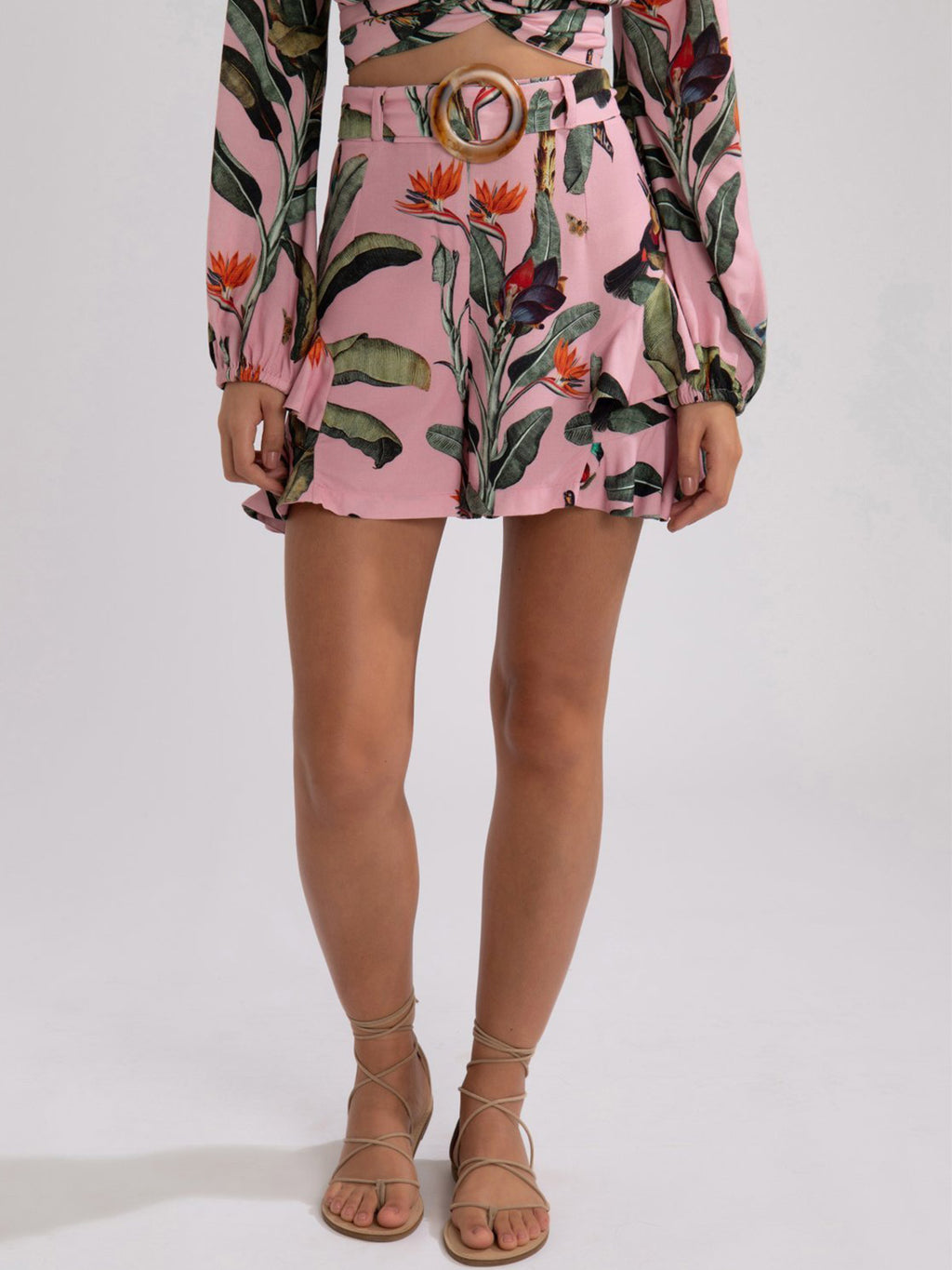Tropical Print Belted Ruffle Shorts