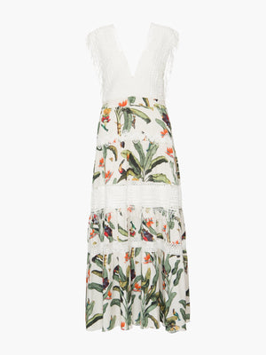 Tropical Print Lace Trim Dress Tropical Print Lace Trim Dress