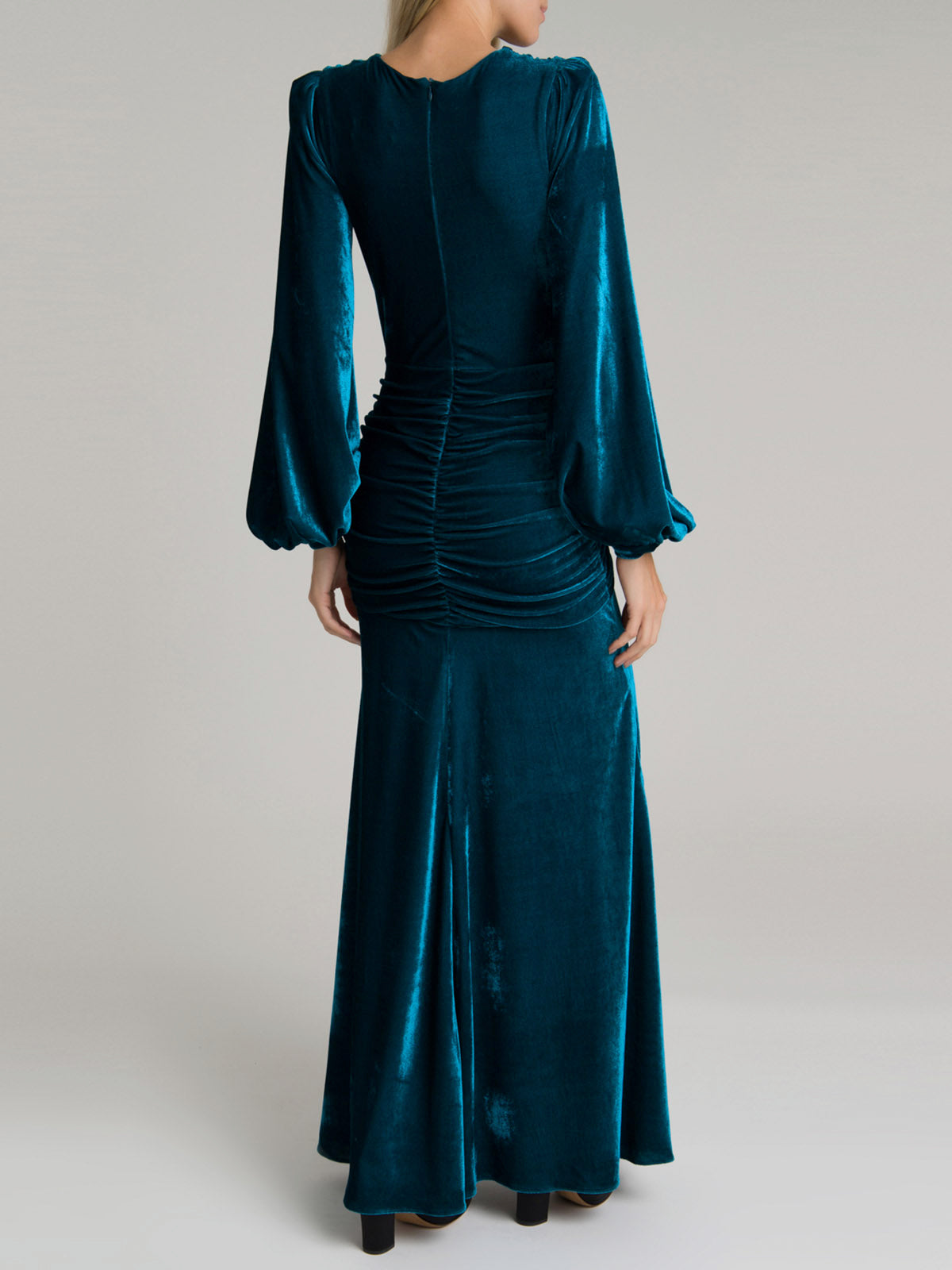 Velvet Long Sleeve Gown | Azure Velvet Long Sleeve Gown | Azure