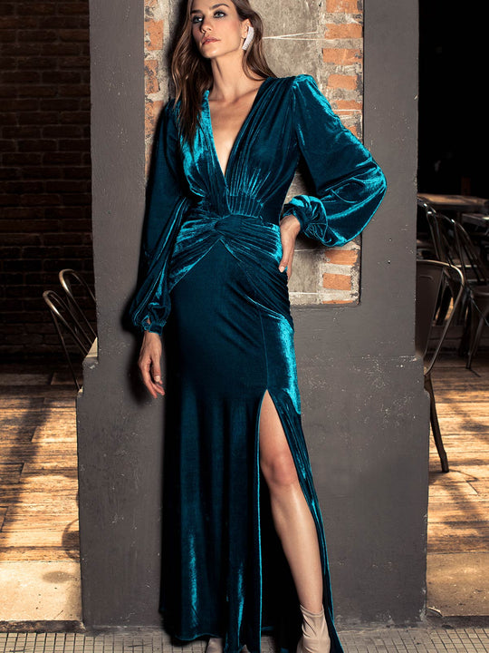 Velvet Long Sleeve Gown | Azure