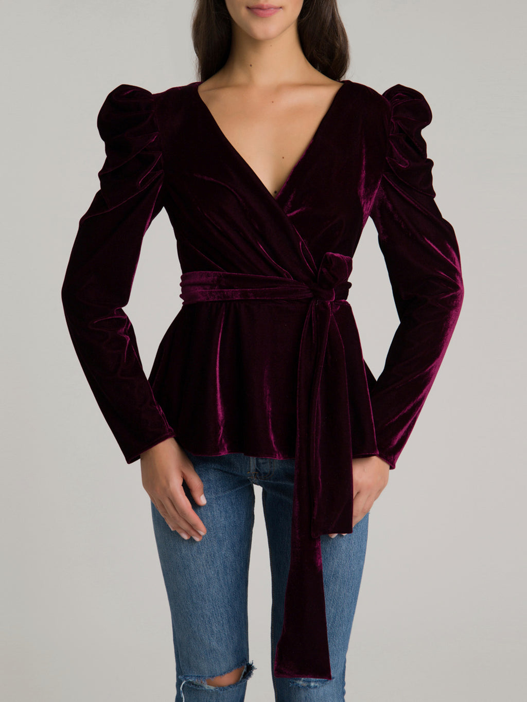 Velvet Puff Sleeve Wrap Top | Bordeaux