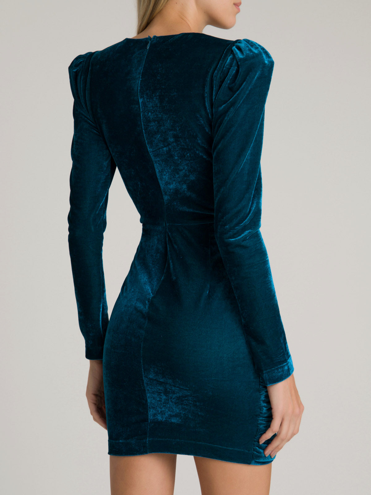 Velvet Ruched Mini Dress | Azure Velvet Ruched Mini Dress | Azure