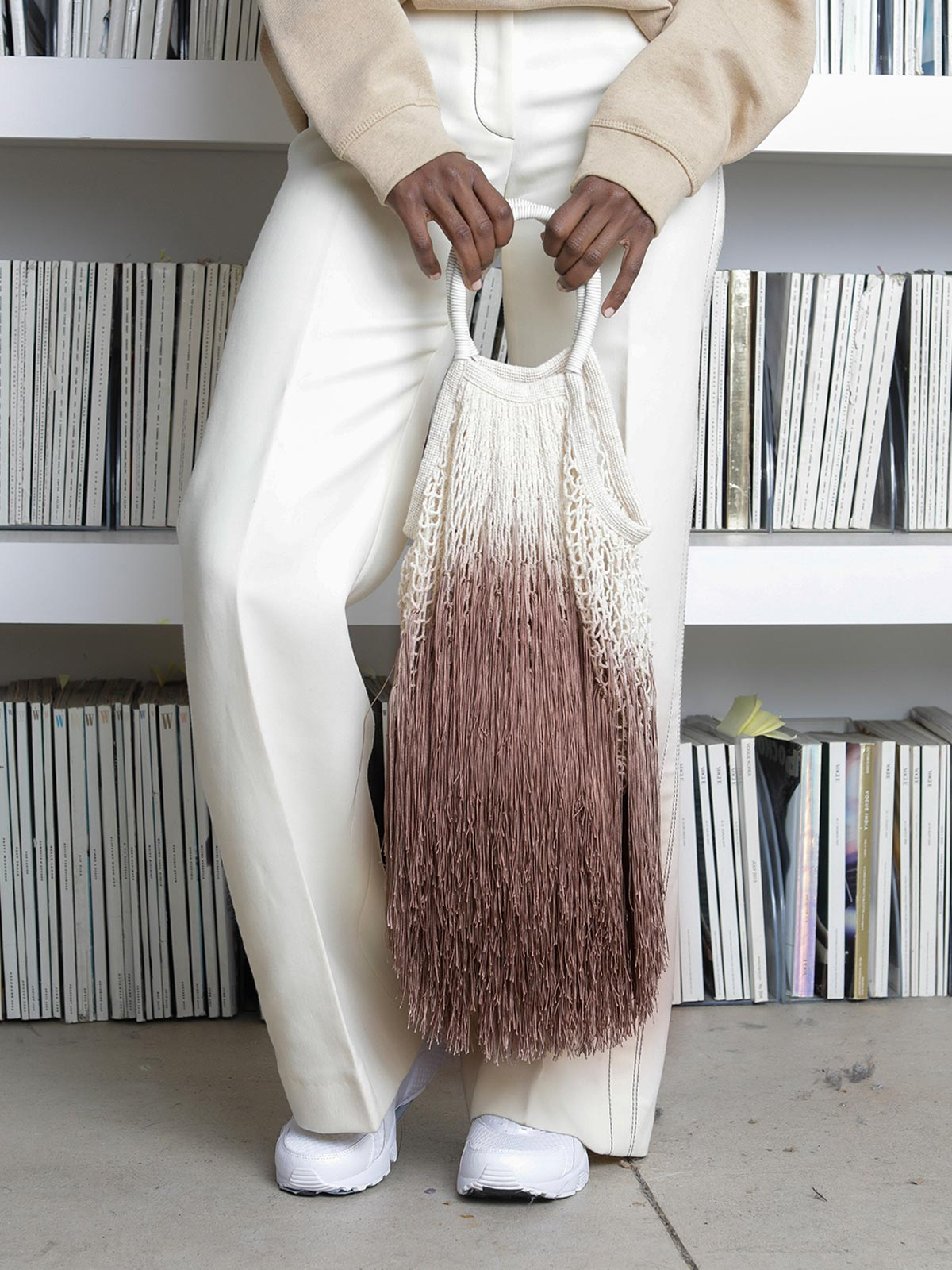 Large Fringe Tote | Ombre Tan