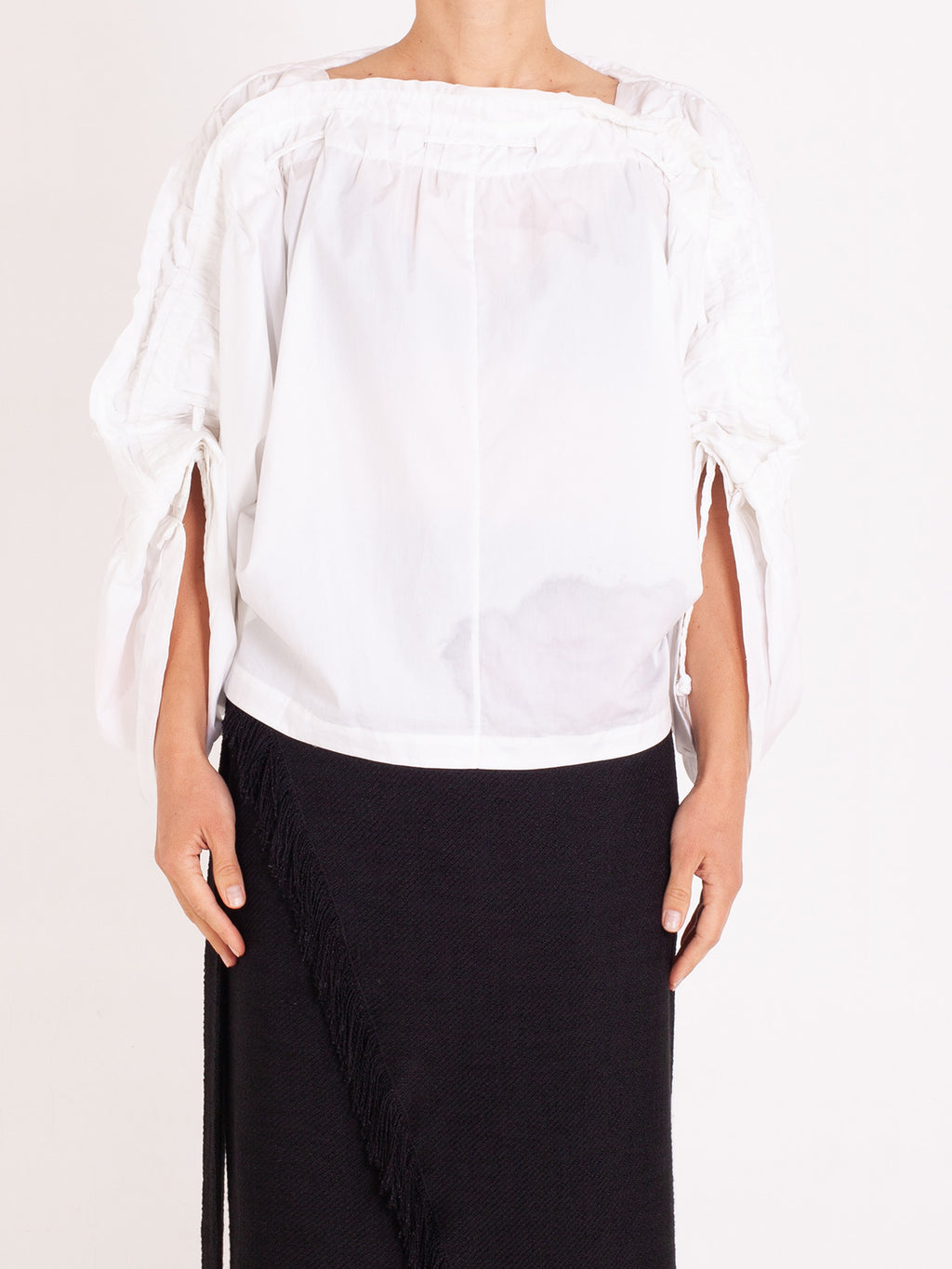 White Cotton Poplin Bernadette Top