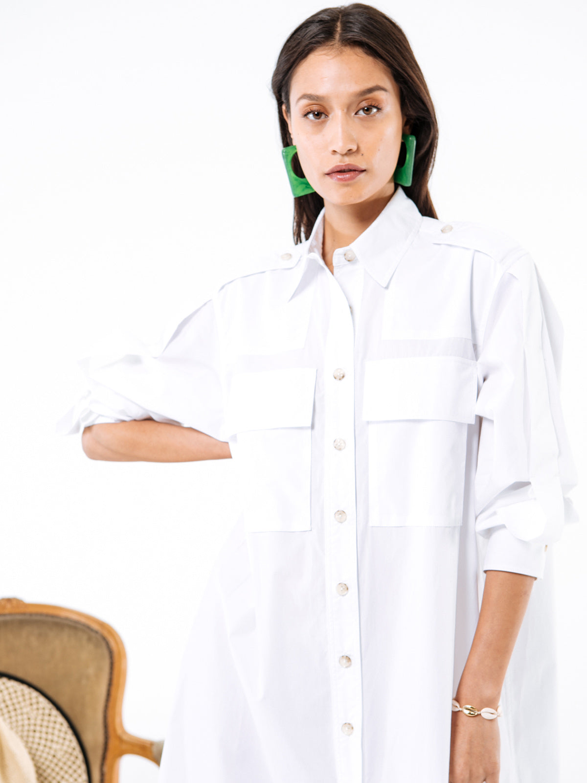 White Cotton Poplin Coro Dress White Cotton Poplin Coro Dress