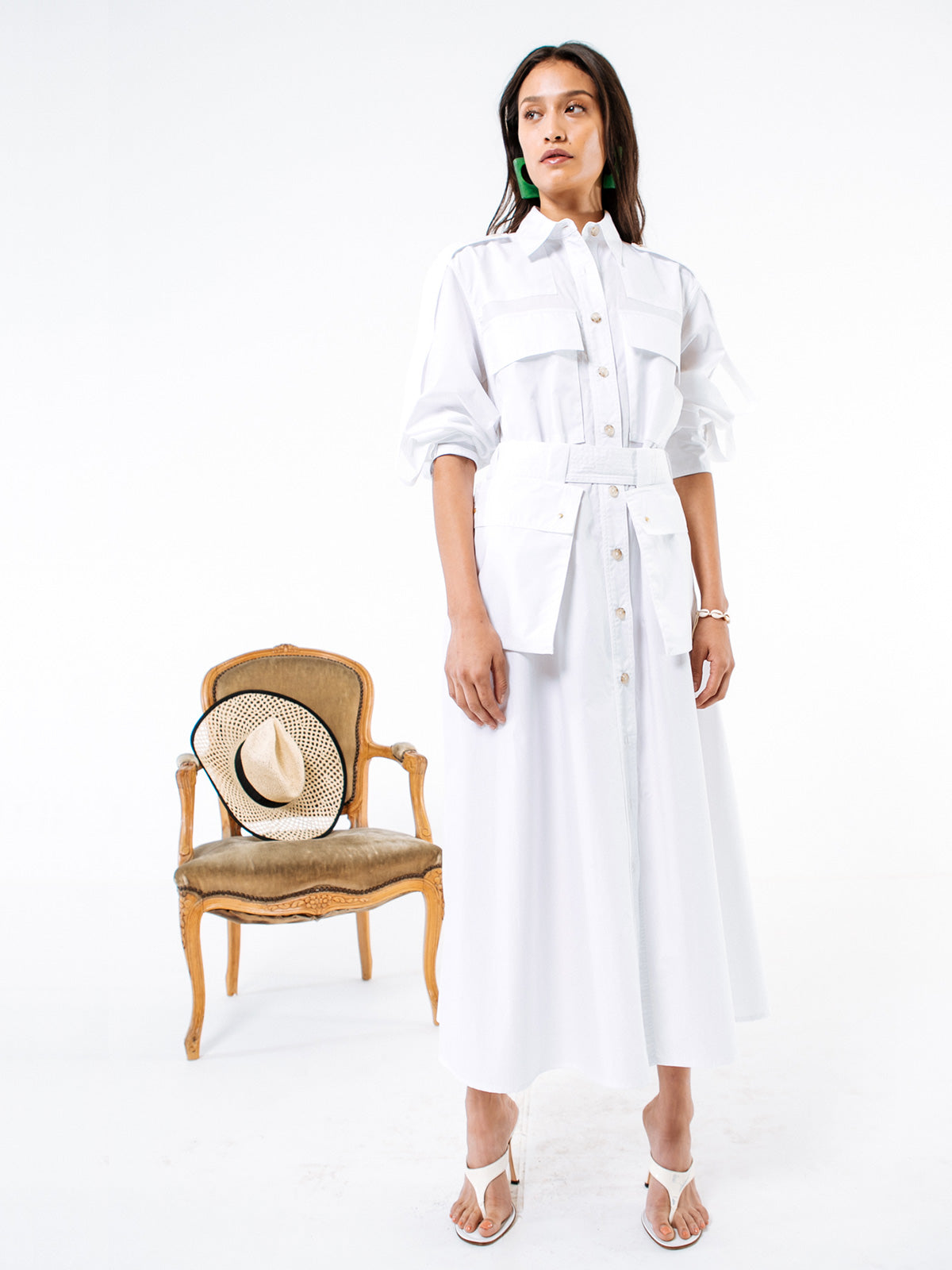 White Cotton Poplin Coro Dress