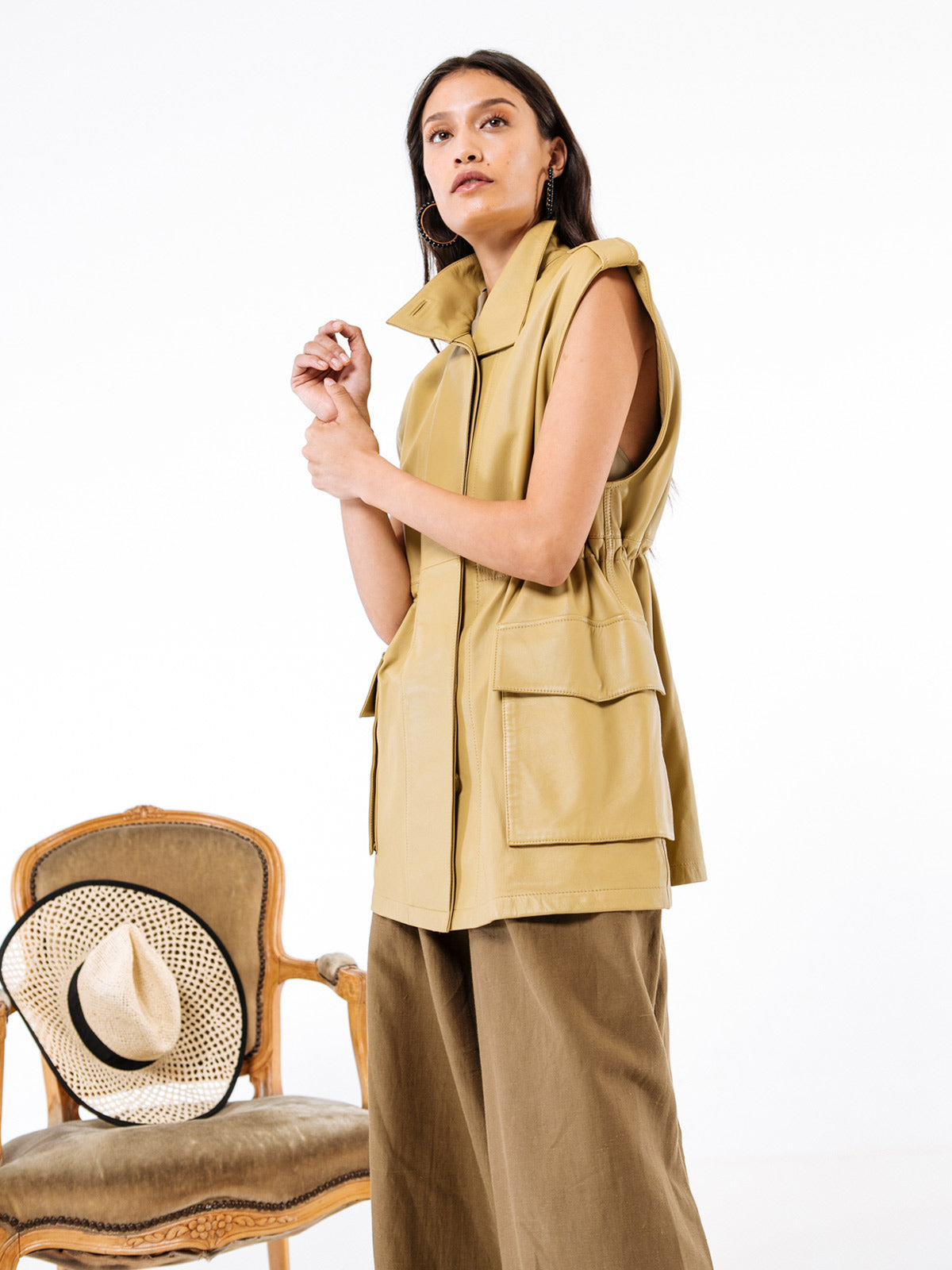Margot Vest | Khaki Leather