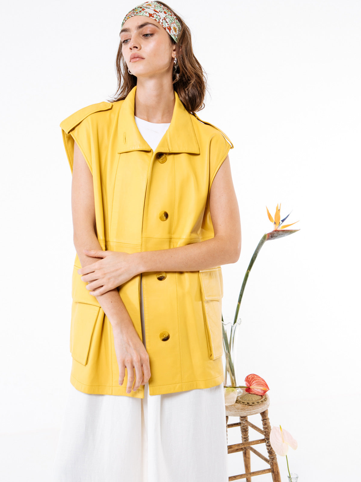 Margot Vest | Yellow Leather