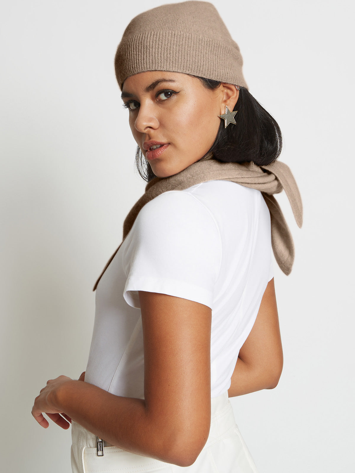 Alby Cashmere Beanie Hat | Fawn