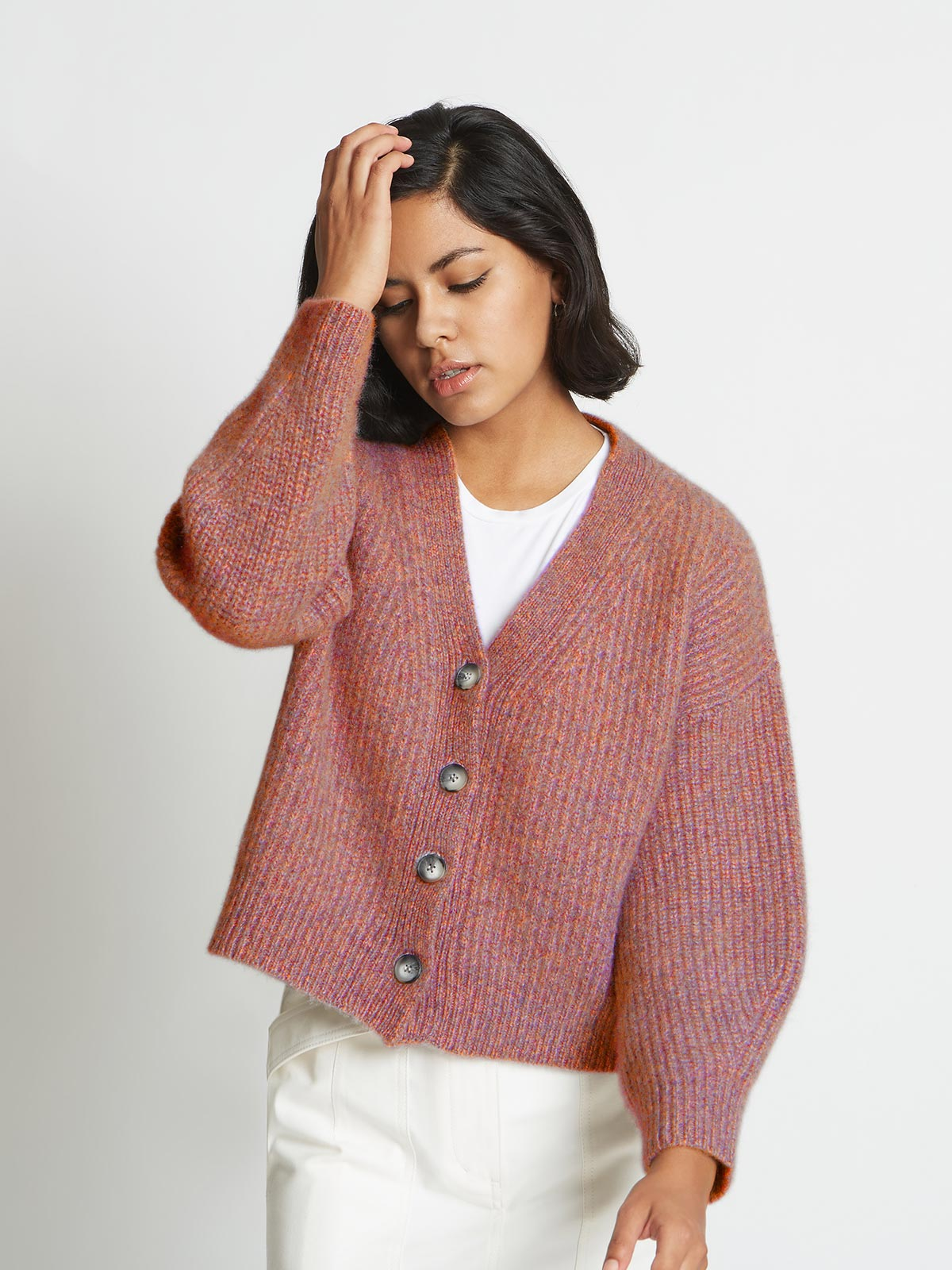 Alix Ribbed Pure Cashmere Cardigan | Red Agate