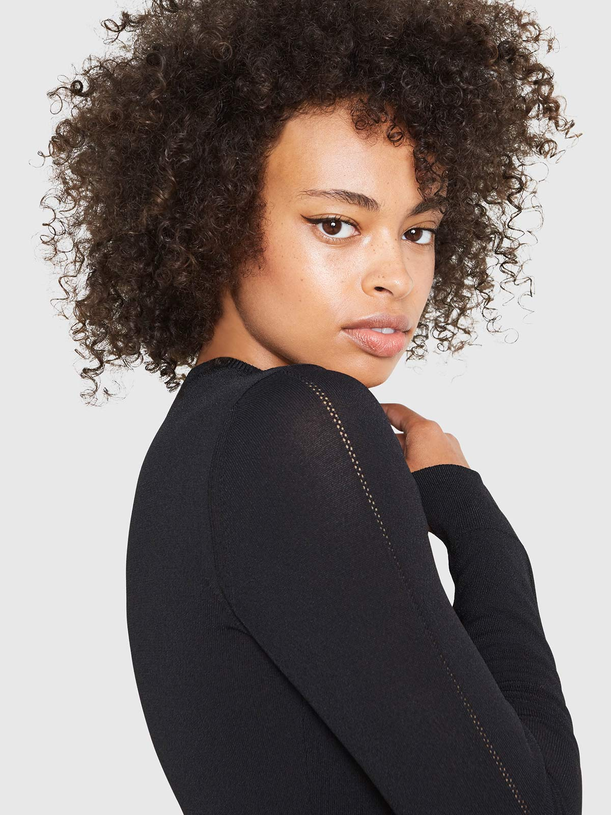 Amber Crew Neck Bodysuit | Black Amber Crew Neck Bodysuit | Black