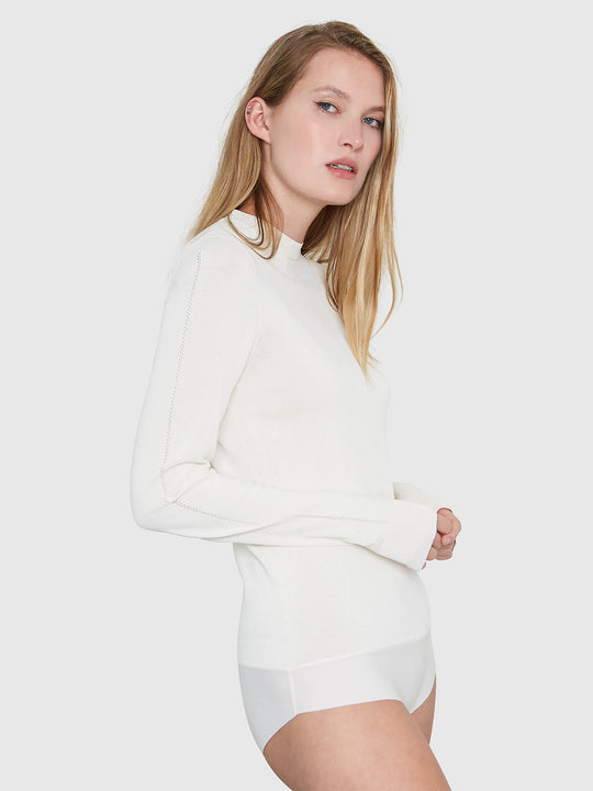 Amber Crew Neck Bodysuit | Cream