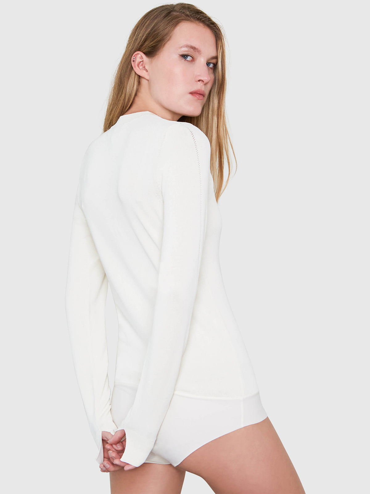 Amber Crew Neck Bodysuit | Cream Amber Crew Neck Bodysuit | Cream