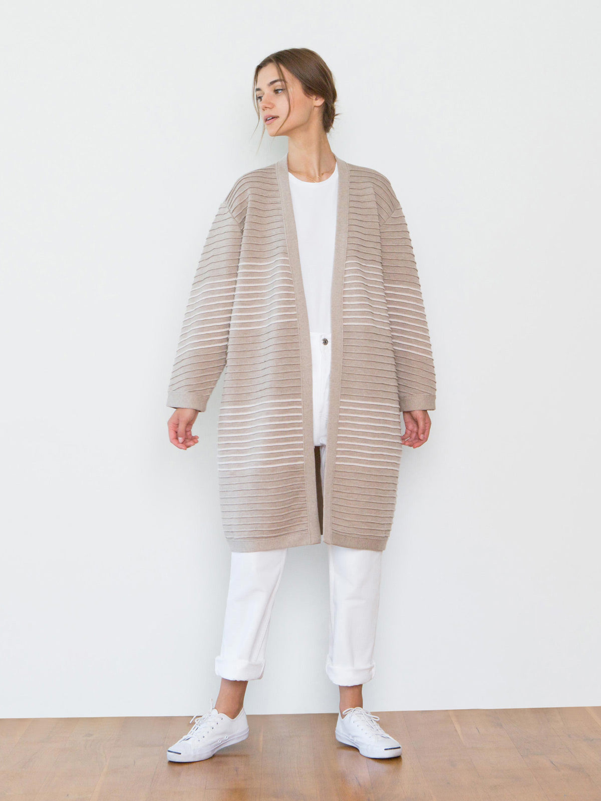 Chloe Striped Wool Sweater Coat | Mushroom Chloe Striped Wool Sweater Coat | Mushroom
