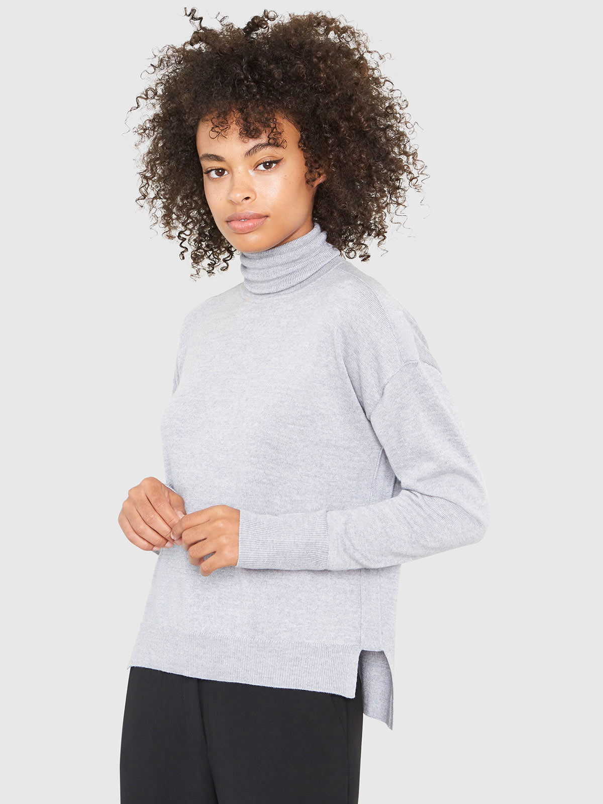 Eileen Turtleneck Relaxed-Fit Sweater | Heather Grey