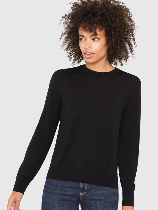 Ellen Notched Neckband Sweater | Black