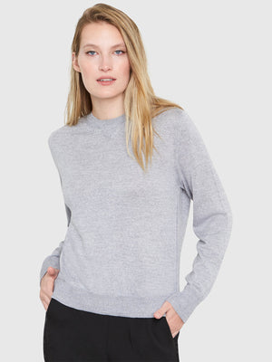 Ellen Notched Neckband Sweater | Heather Grey Ellen Notched Neckband Sweater | Heather Grey