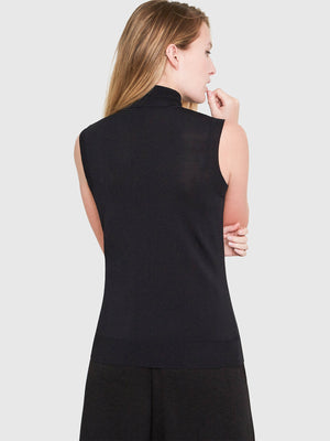 Hepburn Sleeveless Turtleneck Sweater | Black Hepburn Sleeveless Turtleneck Sweater | Black