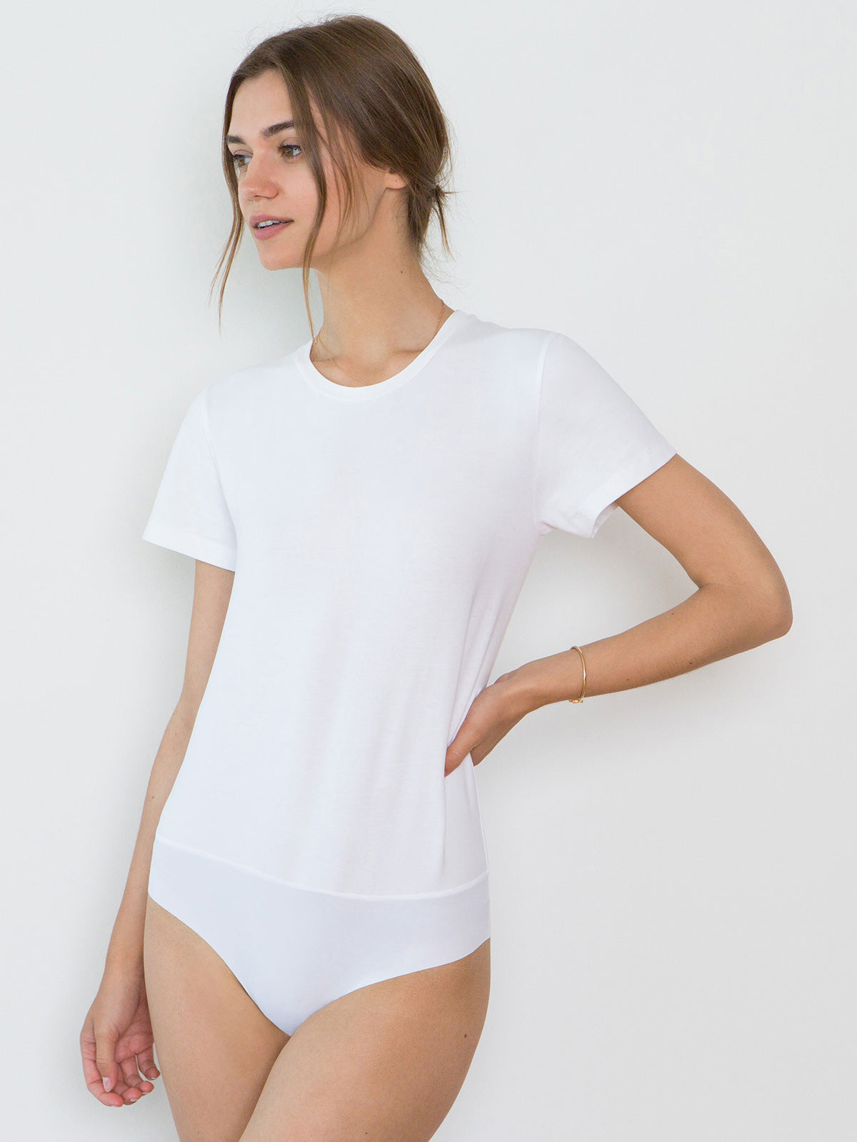 Jen Organic Cotton Crew Neck Bodysuit | White